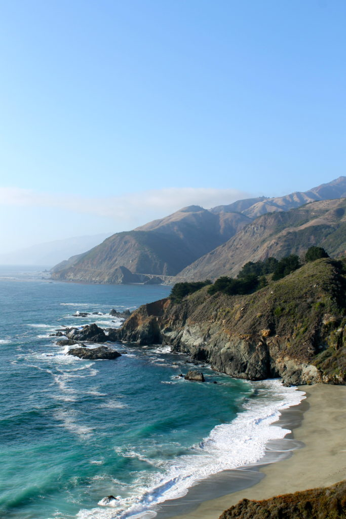 the mountains and ocean along the pacific coast highway in California where marijuana is legal