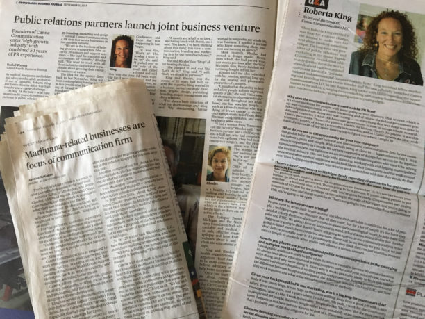 photo of newspaper articles about canna communication