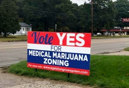 yard sign about voting yes for medical marijuana