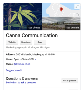 image of a google business page to illustrate SEO for a cannabis business website